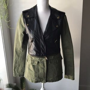 Forever 21 green and leather utility jacket